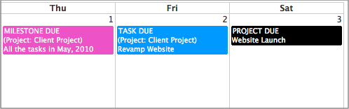 Projects due dates