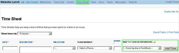 FreshBooks linking in timesheet section