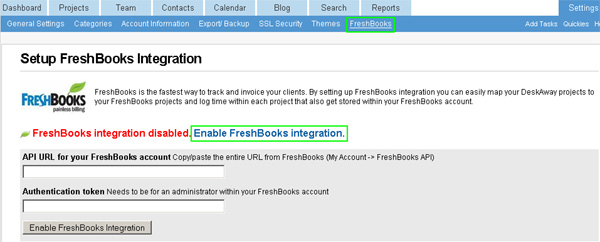 Setup FreshBooks Account