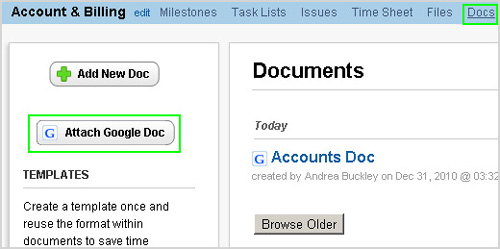 Attach Existing Google Doc In DeskAway